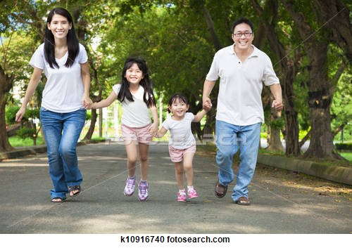 walking asian family